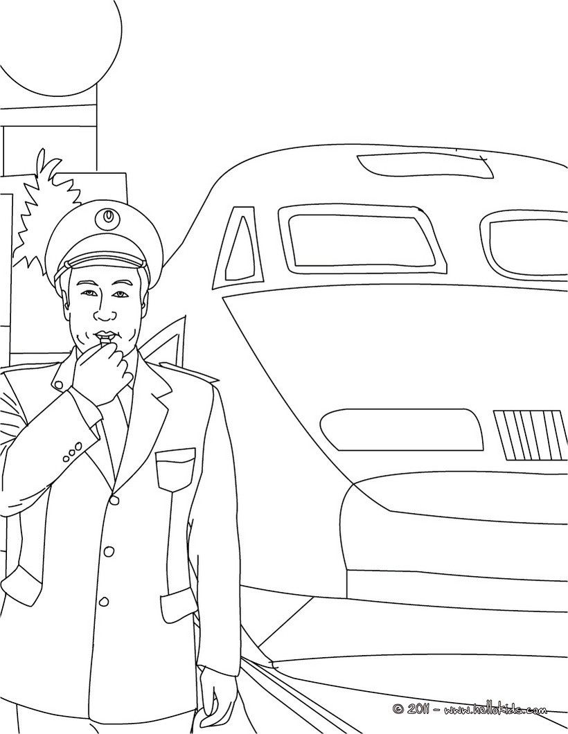 Train Station Chief Coloring Page Amazing Way For Kids To Discover Job More Original Content On Hellokid Coloring Pages Train Coloring Pages Drawing For Kids