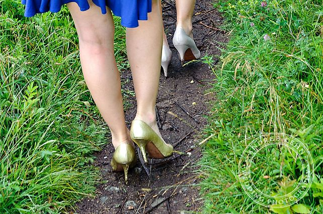 gold and silver heels, outdoors, Andree Kehn Wedding Photography