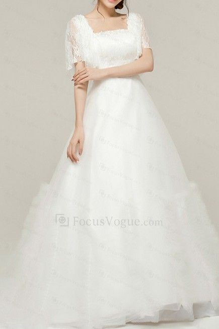 Blonder firkantet kapell tog a-linje brudekjole med brodert - Focus Vogue