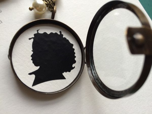 Antique Brass Glass Shadow Box Locket with Custom Silhouette – Silhouettes by Elle