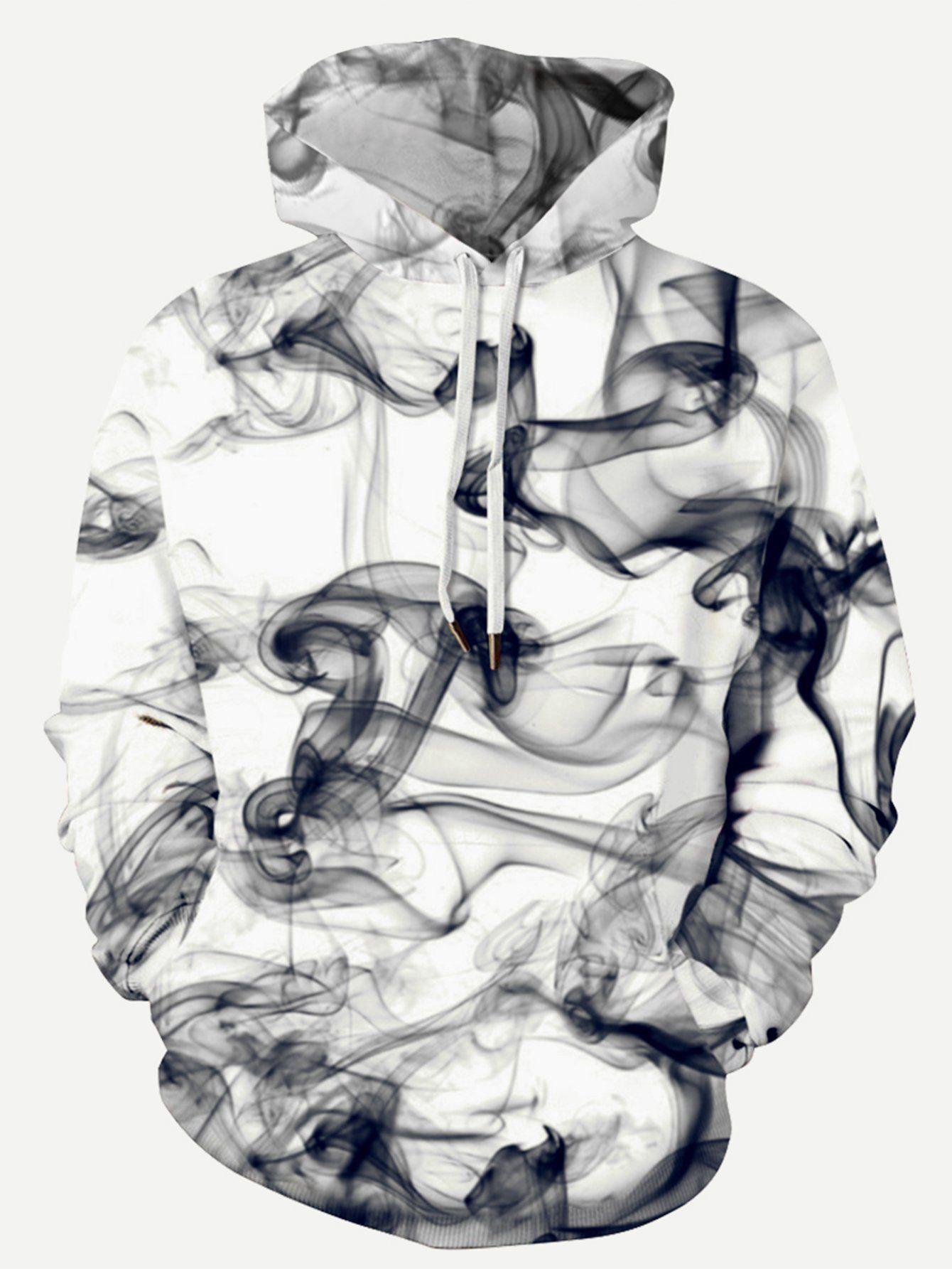 fdd543f61b95 Men 3D Abstract Smoke Print Hooded Sweatshirt