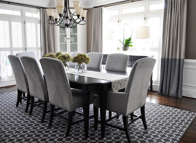 Gorgeous Dining Room With Custom Color Block Panels By