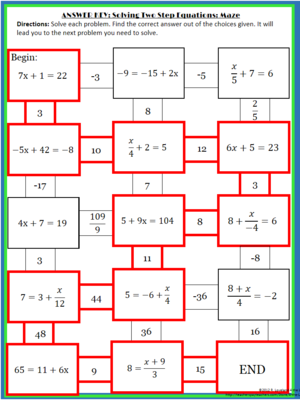 Solving 2 Step Equations Maze School Pinterest Algebra 8th