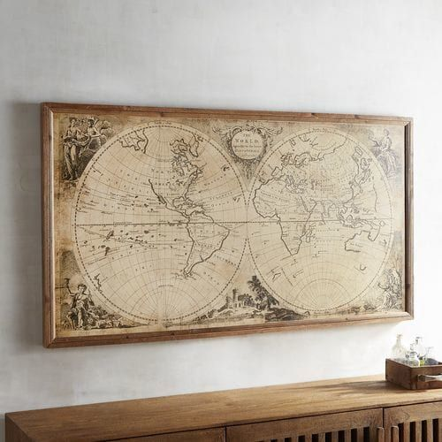Vintage-Style World Map Framed Wall Decor | Map frame, Wall decor ...