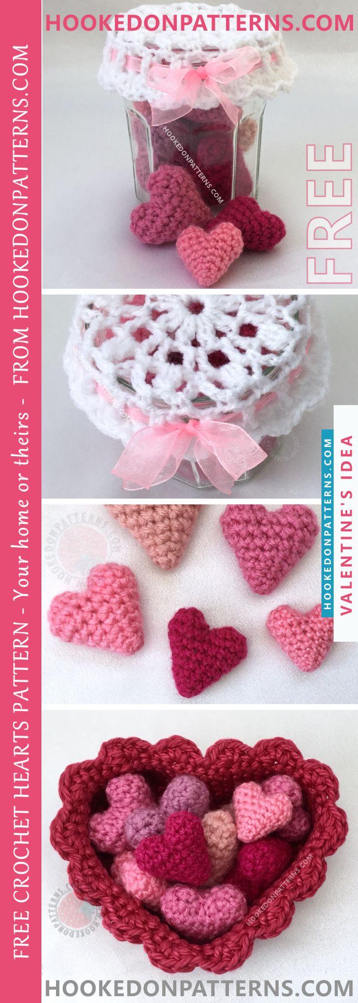 Free Crochet Hearts Pattern - Jar of Hearts | Free heart crochet ...