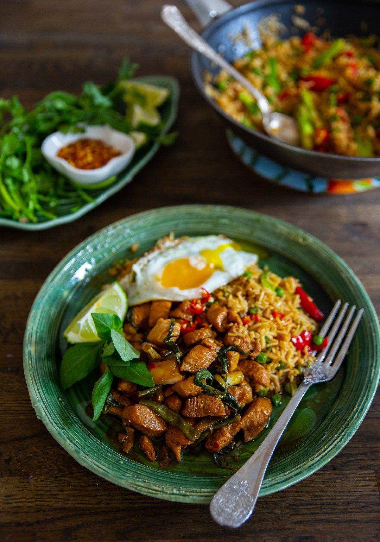 stekt ris med kyckling recept