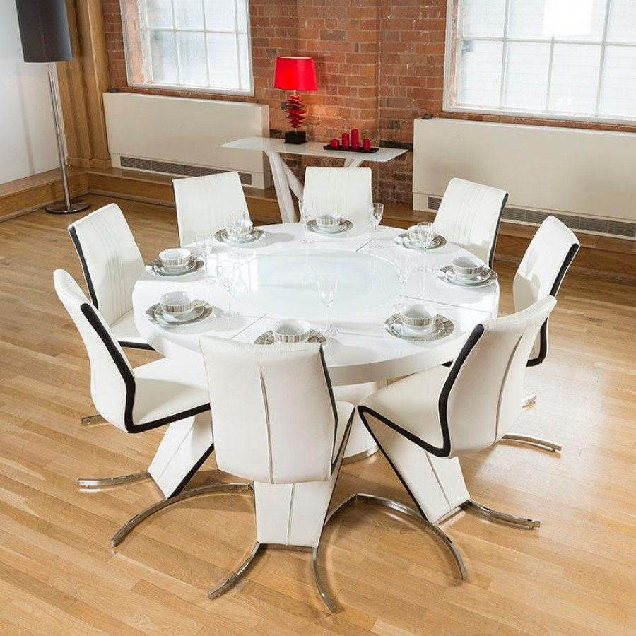 Large Round White Gloss Dining Table Lazy Susan Eight Black Z Chairs