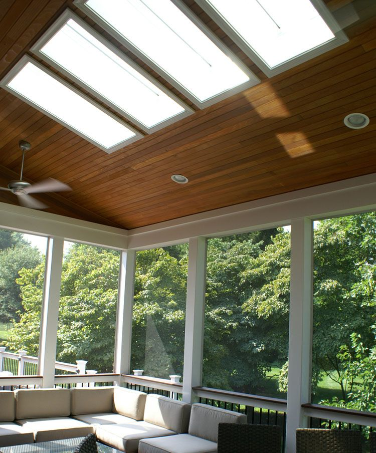 Modern Screened In Porch Sunlights Wood Ceiling Living