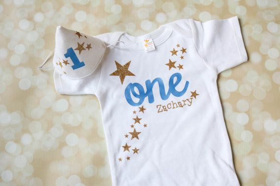 First Birthday Outfit For Baby Boy Includes Personalized Twinkle Little Star Shirt And Matching Party Hat In Gold Blue