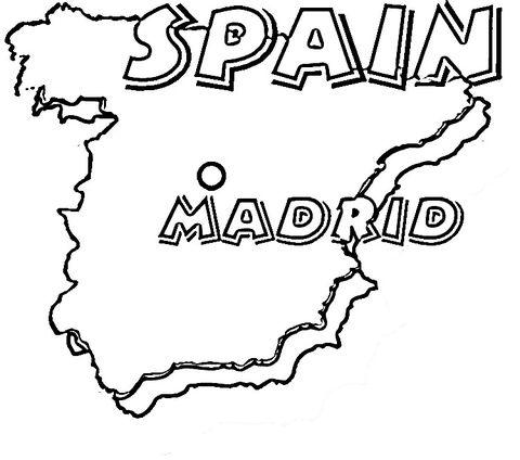 Mapa de España. Su capital es Madrid. Dibujo para colorear