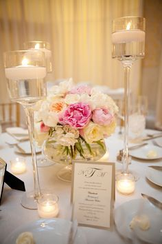 Flowers & Decor, Real Weddings, Wedding Style, pink, Centerpieces, Candles, Spring Weddings, City Real Weddings, Classic Real Weddings, Midw...