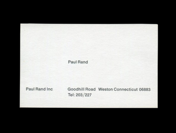 Paul Rand's business card. Should Designers' Business Cards Be Designed? - Print Magazine