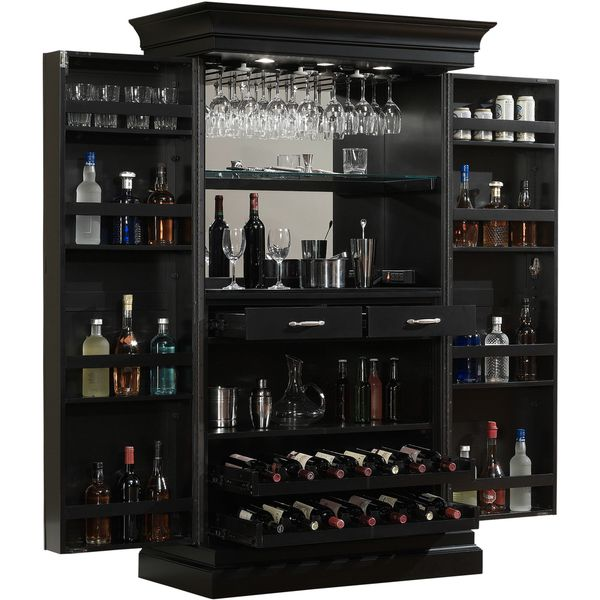 Ashley Heights Black Stain Home Bar Wine Cabinet   Overstock.com Shopping    The Best