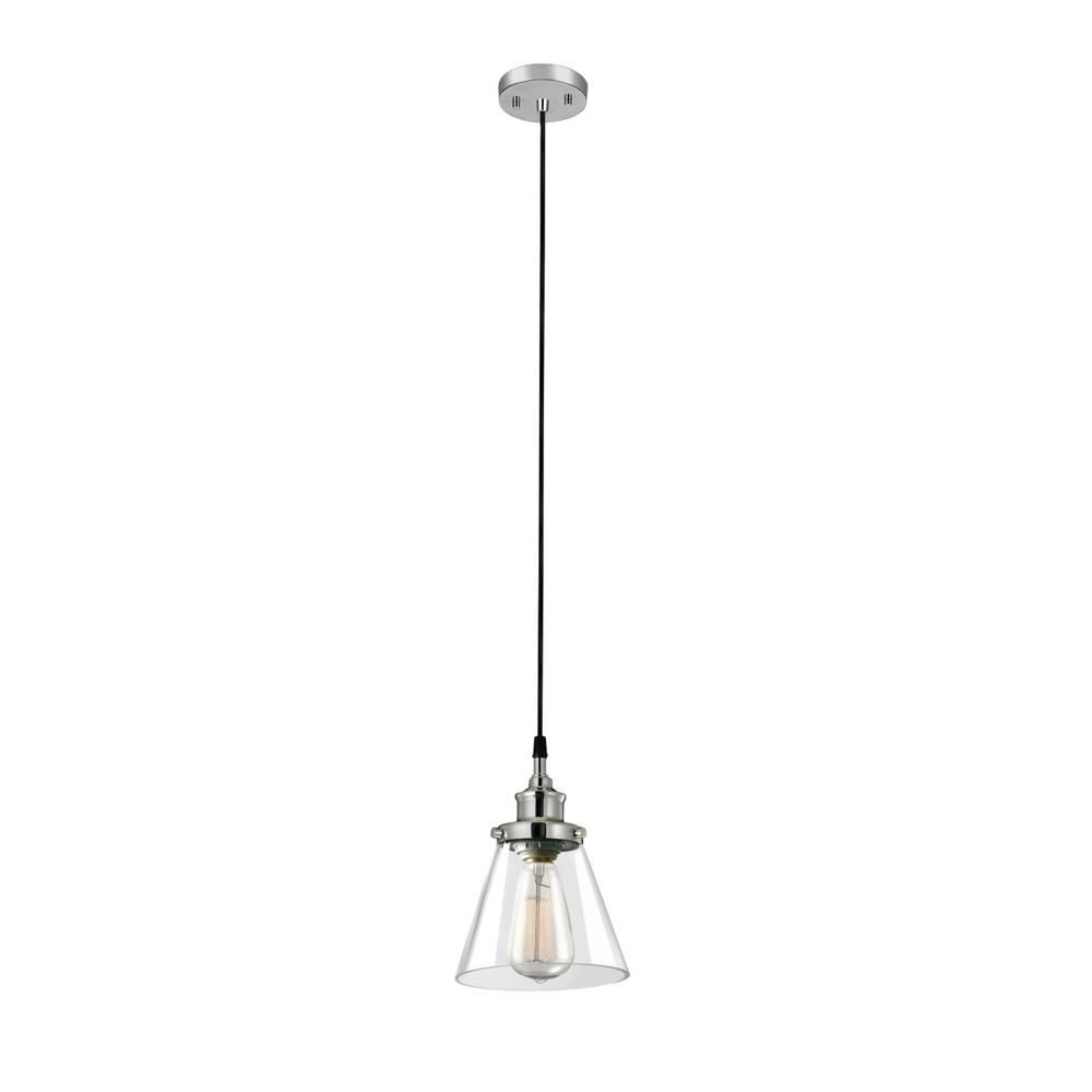 Globe Electric Parker 1 Light Plug In Or Hardwire Chrome Pendant Light With Clear Glass Shade 60713 Glass Shades Clear Glass Glass