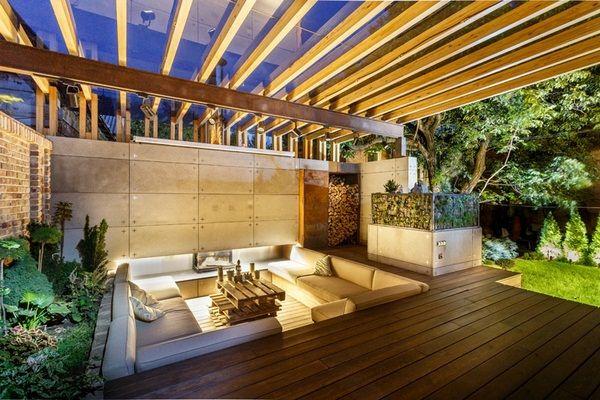 Exterieure Salon Coin Salon Encastre Mur De Beton Amenagement Terasse Salon D Exterieur Salon De Jardin