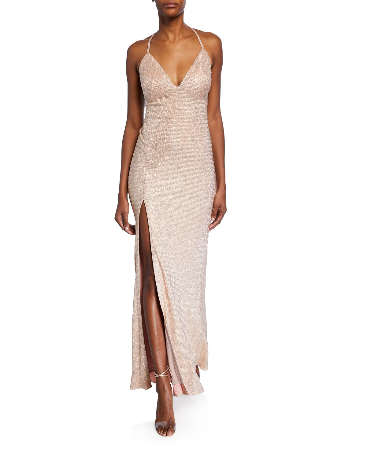df04f0d8629e Aidan by Aidan Mattox Foiled-Knit Halter Gown with Strappy Back ...