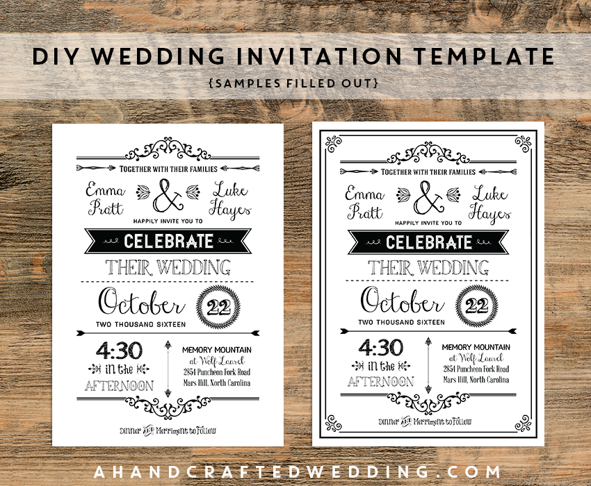 Diyblackrusticweddinginvitationtemplatessamplesfilledout - Diy photo wedding invitations templates
