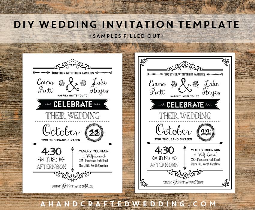Free Rustic Wedding Invitation Templates: Diy-black-rustic-wedding-invitation-templates-samples
