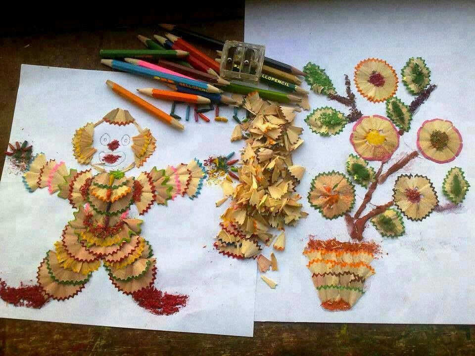 Pictures made from pencil shavings