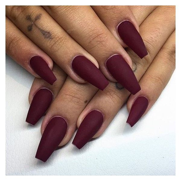 Matte burgundy nails @KortenStEiN ❤ liked on Polyvore featuring ...