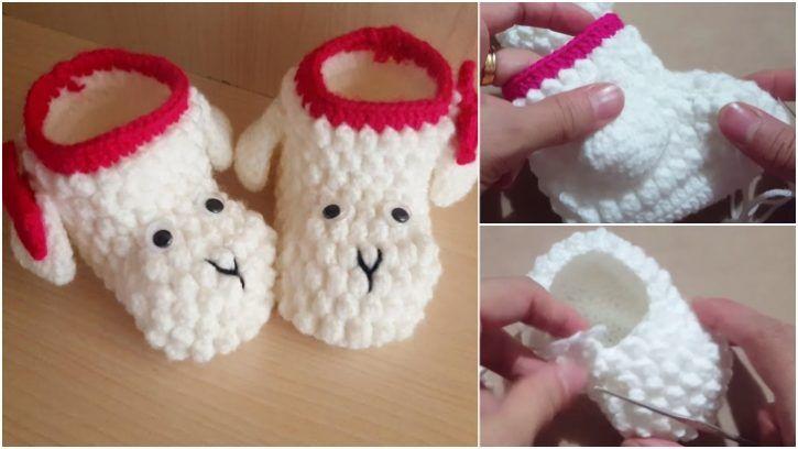 Çok Şirin Kırmızı Beyaz Renk Bebek Örgü Kuzu Patik Modeli Yapılışı