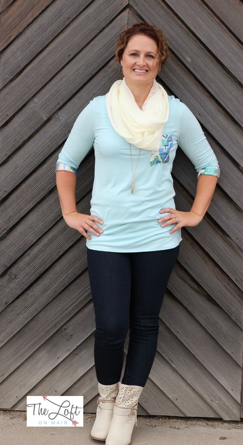 This is such a pretty 3/4 sleeve tee with bling on the pocket & sleeves...  Love it with the short cream boots...   ‪#‎ishoptheloft‬ ‪#‎fashion‬ ‪#‎nowtrending‬ ‪#‎style‬ ‪#‎ootd‬ ‪#‎mystyle‬ ‪#‎boutiquelove‬ ‪#‎trendy‬ ‪#‎shopsmall‬ ‪#‎follow‬