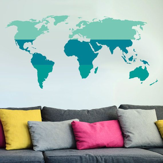 Tri color world map wall decal custom vinyl art stickers for classrooms kids