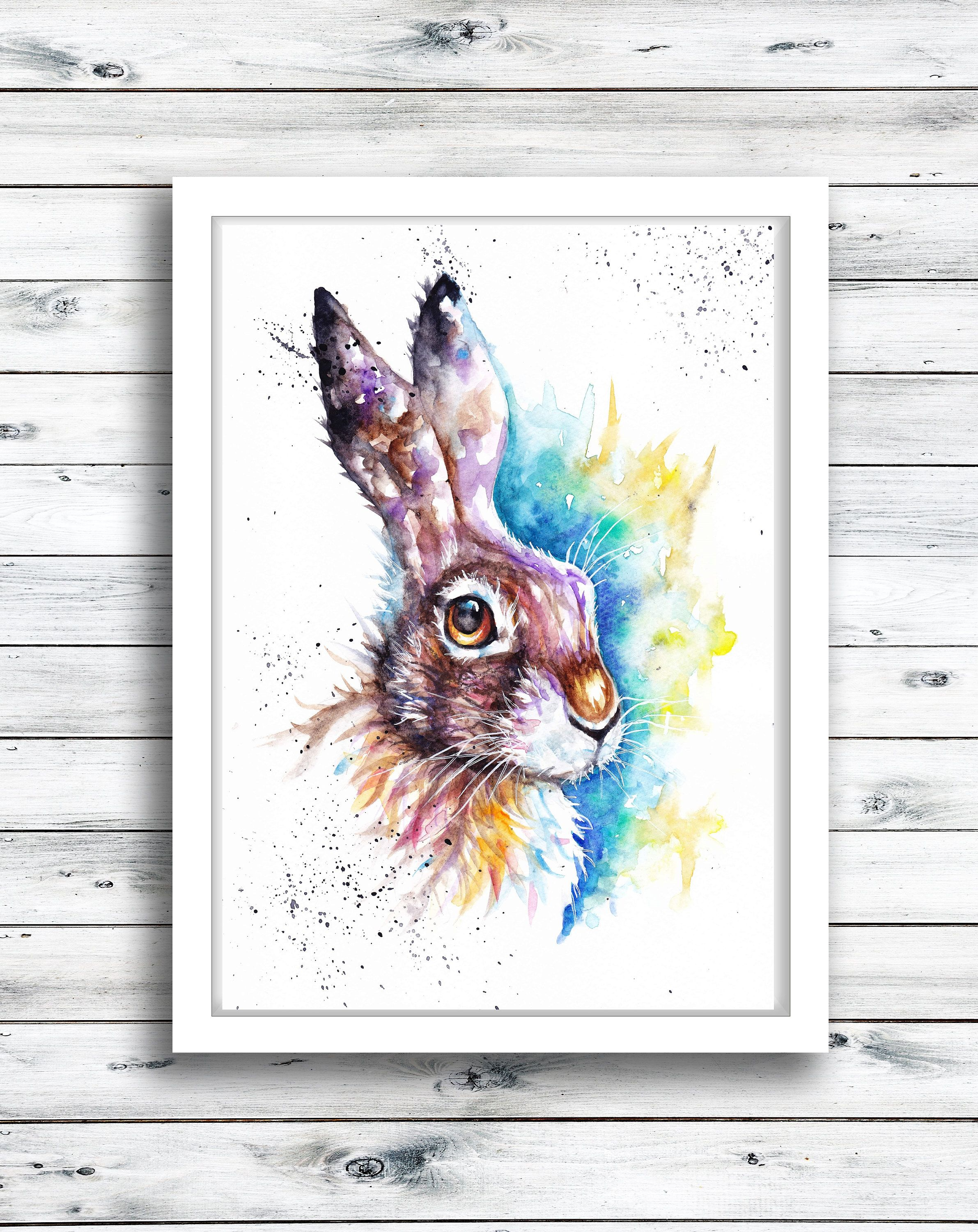 Frammed Picture Artcard Original art Meadow Hare and Bee Watercolour Print