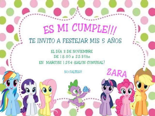 Tarjetas De Cumpleaños De My Little Pony Para Imprimir