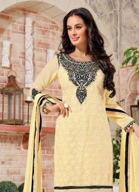 61bdb84424 FABFIRKI Stylish Designer Cream Embroidered Salwar Suit | fabfirki ...