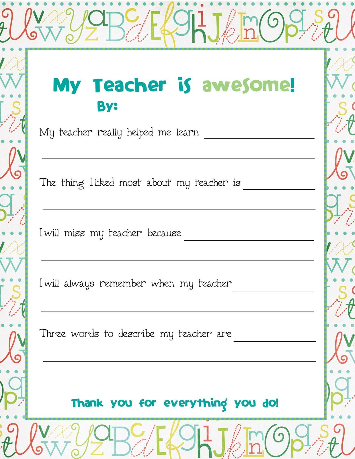 End Of Year Teacher Card Nd This To All The Kids To Fill Out Before School Is Out And Bind