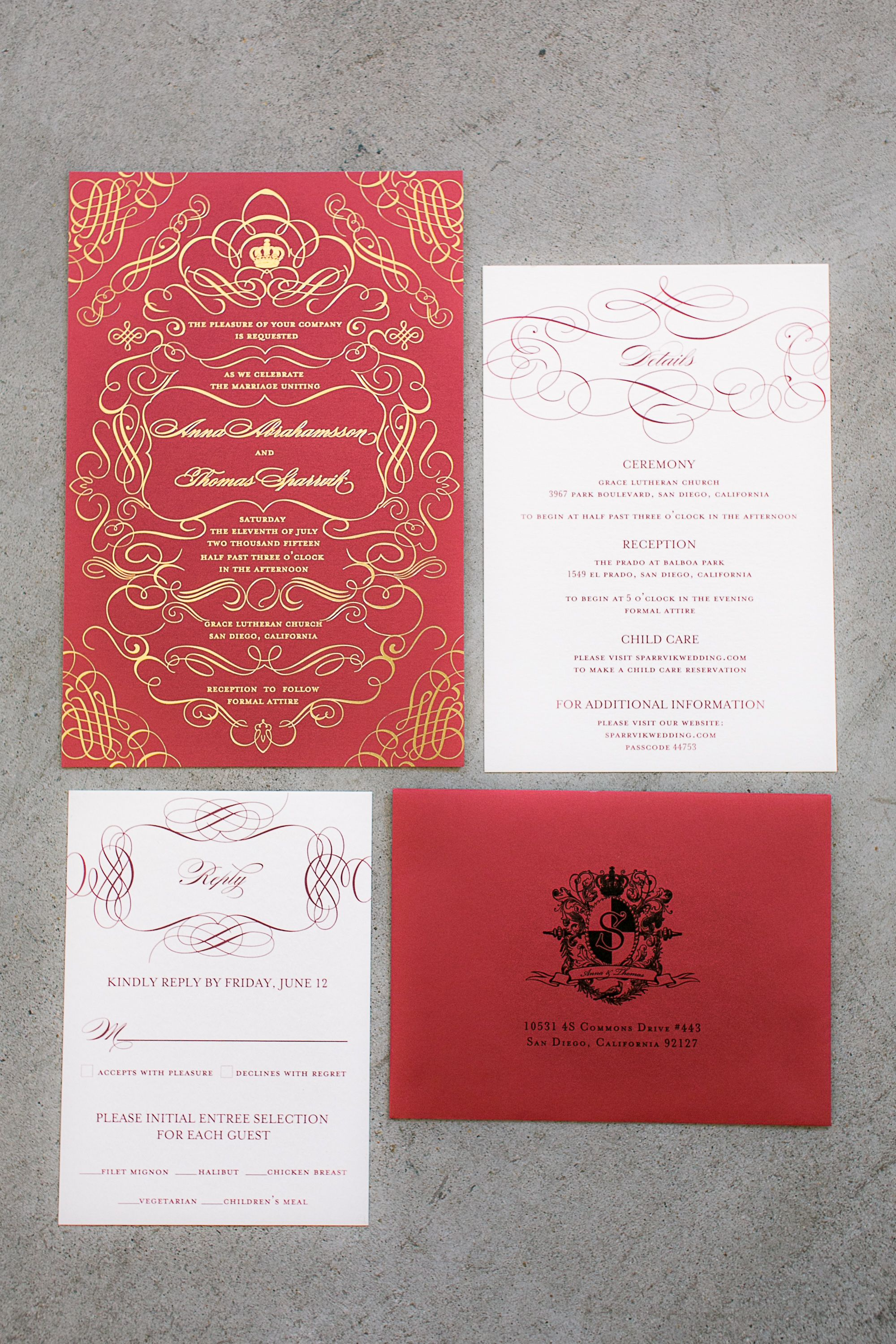 Gold foil stamped custom invitation with laser cut belly band ...