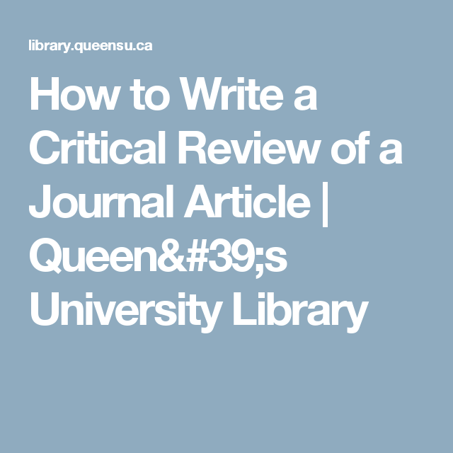how to write review of journal article