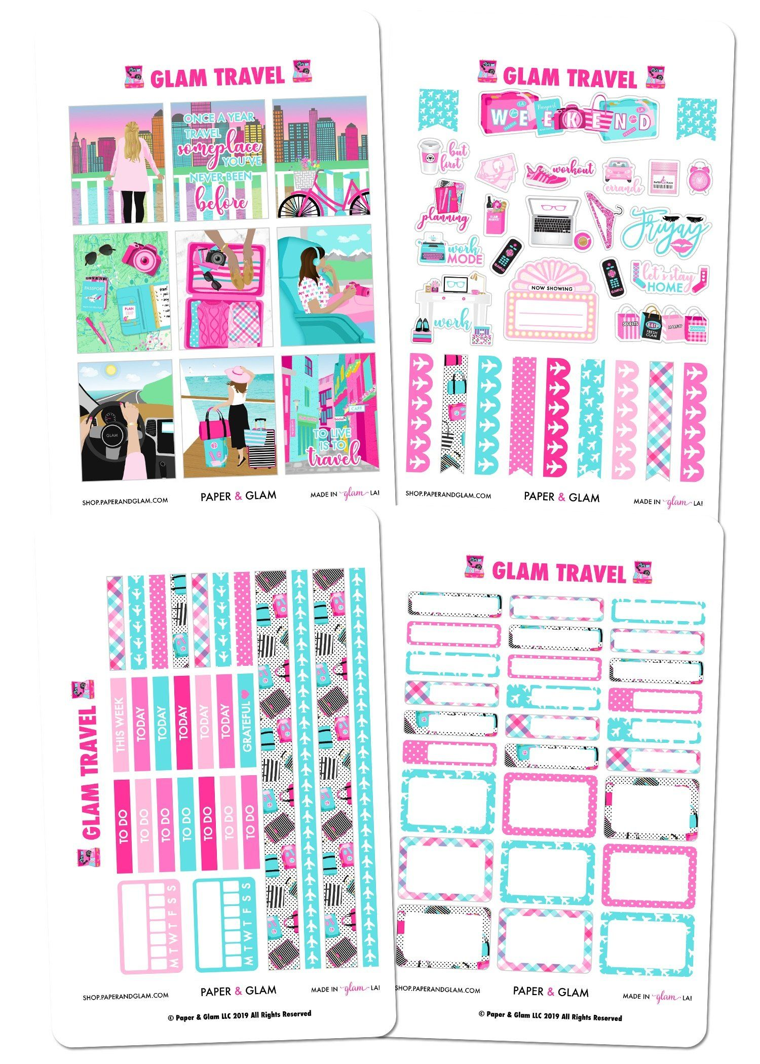 Glam Travel Weekly Kit Planner Stickers