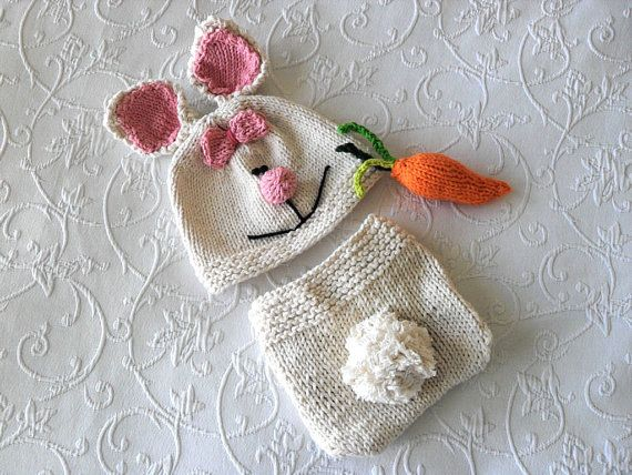 Diese niedliche handgestrickte Ostern Hase Kaninchen Hut und Windel ...