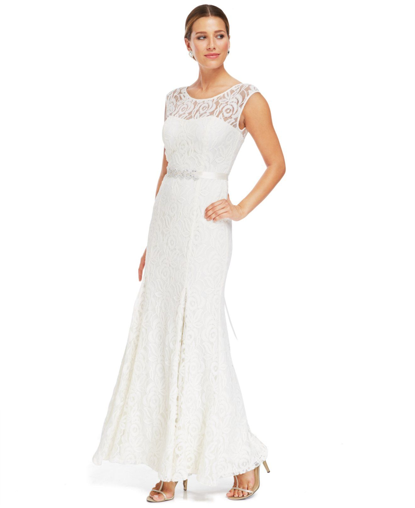 Betsy & Adam Illusion Lace Belted Gown - Bridal - Women - Macy\'s ...