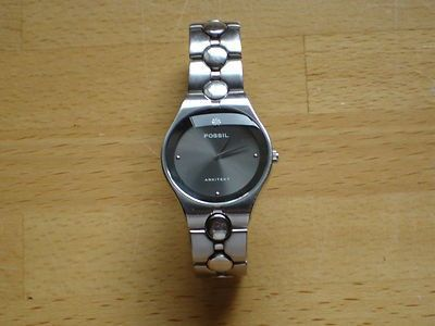 e0354297f4b7 Authentic Fossil Arkitekt FS-2696 watch.Used but in good condition and  working order.Stainless steel with a black face and a diamond encrusted 12  spot.