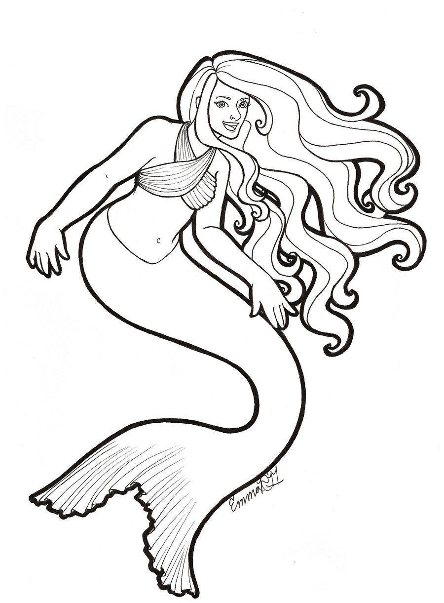 free mermaid drawings playful mermaid lineart by emma jen traditional art drawings fantasy