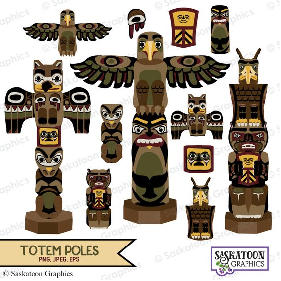 Native American Totem Poles Clipart Instant Download Bestand Etsy Totempaal Totems