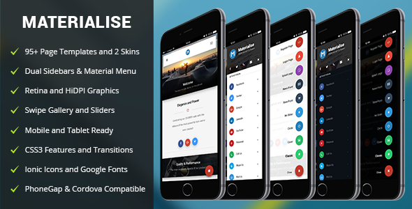Materialise | PhoneGap & Cordova Mobile App | Sidebar Navigation