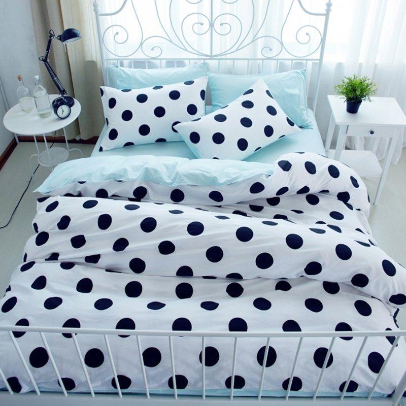 Hipster Black White And Aqua Blue Polka Dot Print Elegant Girls