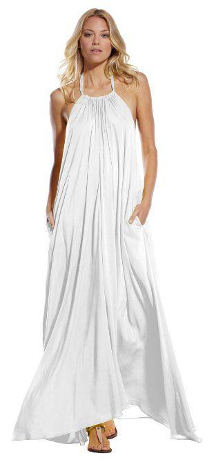 cc28435f7afa Amazon.com  An Elan Usa Maxi Halter Tie Flowy Long Dress (RY597) (Large