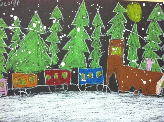 we heart art: Polar Express--done with 1st grade. Maybe figure out a way to paint background and use construction paper shapes for train