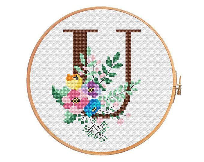 Spring Botanical letter «R» - cross stitch pattern - letter R ...