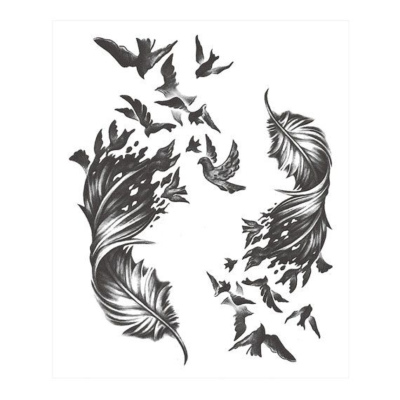 Temporary tattoos sticker size 115 mm x 160 mm non toxic usually keeps 1 feather with birds