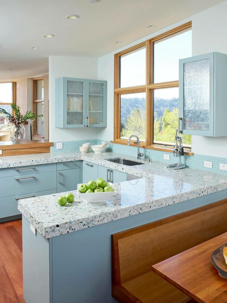 The Icestone terazzo countertops in this kitchen by Massucco Warner ...