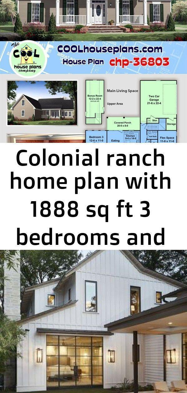 Colonial ranch hjem plan med 1888 sq ft 3 soverom og 25 bad og en to bil side lbad