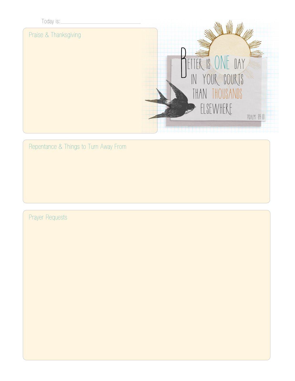 Prayer Journal Page Free Printable
