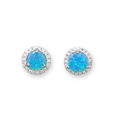 bright blue opal and white cz round halo stud earrings. Black Bedroom Furniture Sets. Home Design Ideas