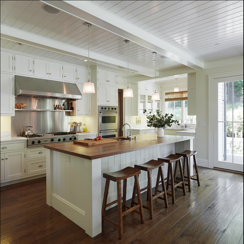 Attrayant White Cabinets, Butcher Block Island, Saddle Stools, Plank Ceiling